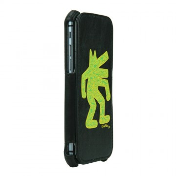Keith Haring Collection Flip Cover for iPhone 6 Dog/Black x Yellow
