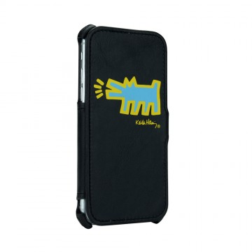 Keith Haring Collection Flip Cover for iPhone 7 Dog Symbol/Black