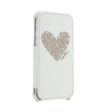 Keith Haring Collection Flip Cover for iPhone 7 Heart/White x Gold