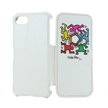 Keith Haring Collection Flip Cover for iPhone 7 Hexagon Figs/White