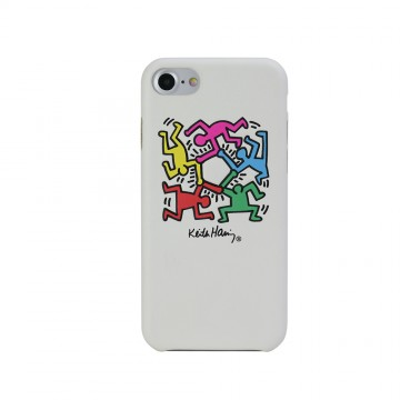 Keith Haring Collection PU Case for iPhone 7 Hexagon Figs/White