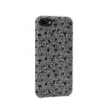 Keith Haring Collection PU Case for iPhone 7 People/Black x White