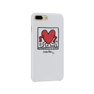 Keith Haring Collection PU Case for iPhone 7 Plus Running Heart/White