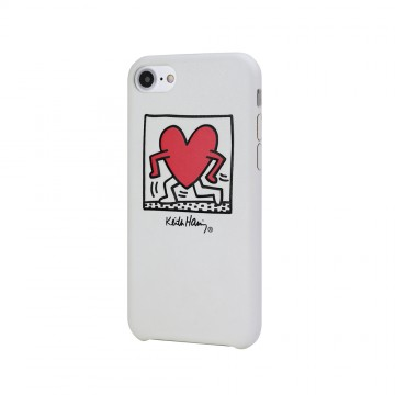 Keith Haring Collection PU Case for iPhone 7 Running Heart/White