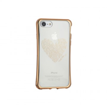 Keith Haring Collection TPU Case for iPhone 7 Heart/Metallic Gold