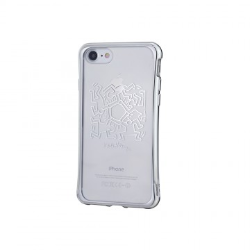 Keith Haring Collection TPU Case for iPhone 7 Hexagon Figs/Metallic Silver