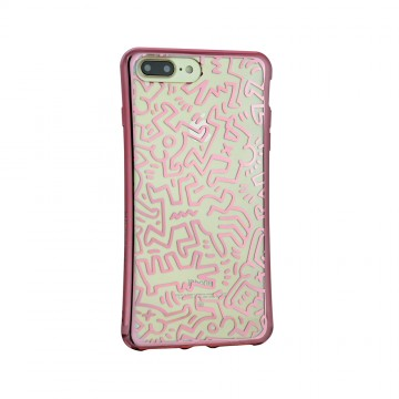 Keith Haring Collection TPU Case for iPhone 7 Plus Chaos/Metallic Rose Gold