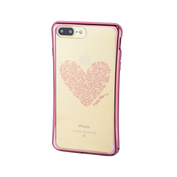 Keith Haring Collection TPU Case for iPhone 7 Plus Heart/Metallic Rose Gold