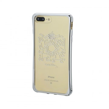 Keith Haring Collection TPU Case for iPhone 7 Plus Hexagon Figs/Metallic Silver