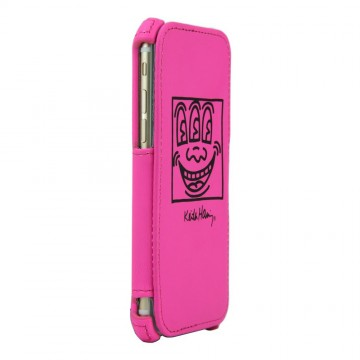 Keith Haring Collection Flip Cover for iPhone 6 Face/Pink x Black