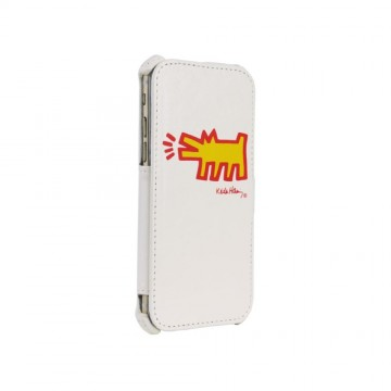 Keith Haring Collection Flip Cover for iPhone 6/6s Dog Symbol/White