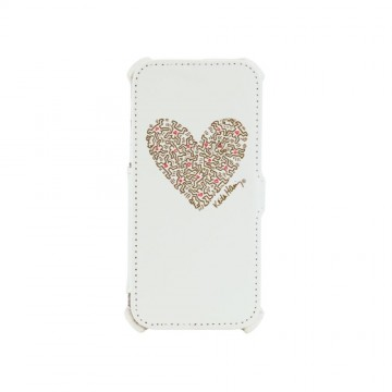 Keith Haring Collection Flip Cover for iPhone 6/6s Heart/White x Gold
