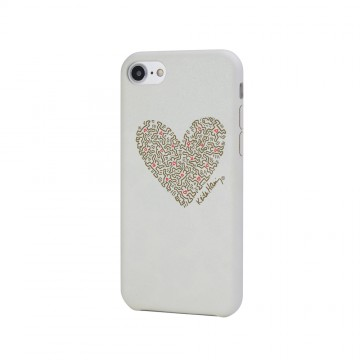 Keith Haring Collection PU Case for iPhone 7 Heart/White x Gold