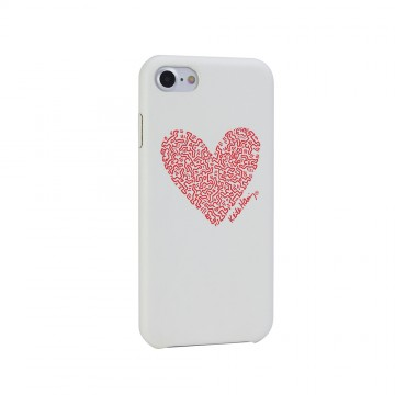 Keith Haring Collection PU Case for iPhone 7 Heart/White x Red