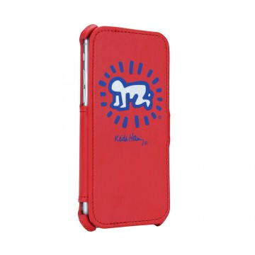 Keith Haring Collection Flip Cover for iPhone 7 Baby Symbol/Red