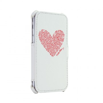 Keith Haring Collection Flip Cover for iPhone 7 Heart/White x Red