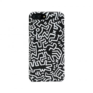 Keith Haring Collection PU Case for iPhone 7 Plus Chaos/Black x White