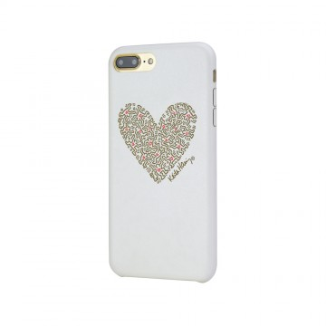 Keith Haring Collection PU Case for iPhone 7 Plus Heart/White x Gold